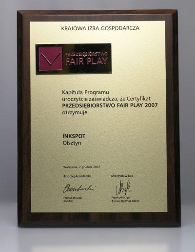 Certyfikat Przedsiębiorstwo Fair Play